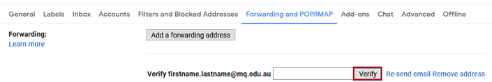 Verify button highlighted on the forwarding settings page
