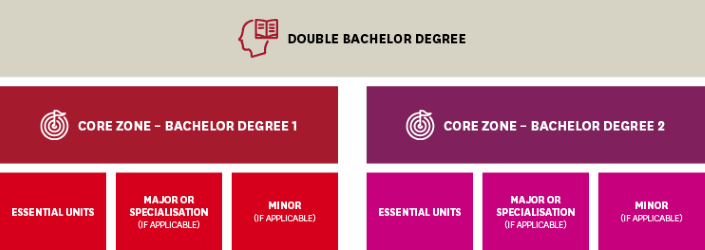 Double Degree flowchart explaining core zone requirements for each degree.