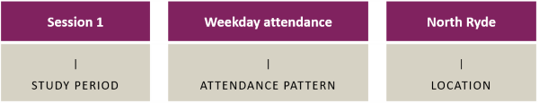 Boxes showing examples of Study Period, Attendance Pattern and Location