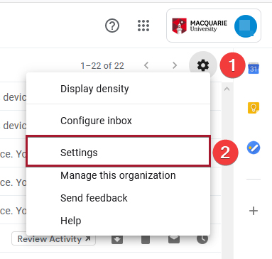 Settings button highlighted in the dropdown menu