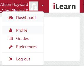 Screenshot of the profile context menu on iLearn