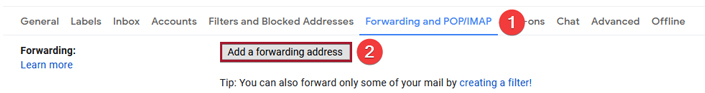 Screenshot showing how to access page to add a forwarding address
