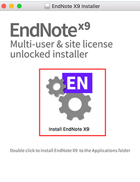 Button to install EndNote x9 on mac