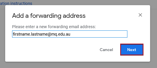 Input field for a new forwarding email address