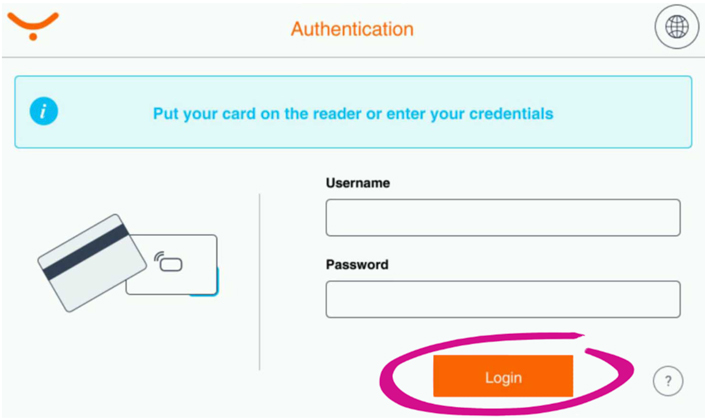 Screenshot highlighting the login button on the printer authentication interface