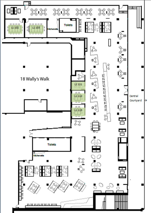 Floor plan for the first level in MUSE building showing available spaces: rooms L101, L 102, L111, L112 and L113